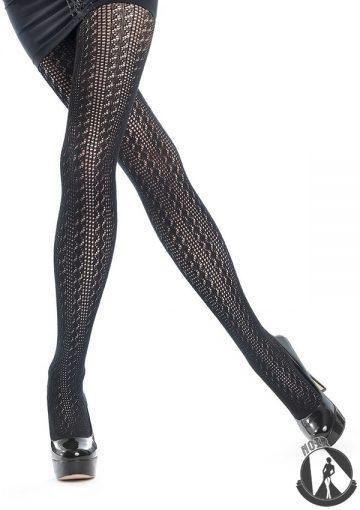 Плотные черные колготки из хлопка в сетку