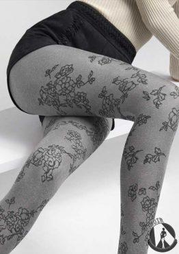 Колготки плотные с цветочным рисунком
